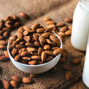 nuts almonds bowl milk